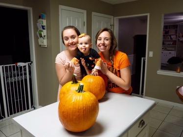 Carving pumpkins with Aunt Paige!