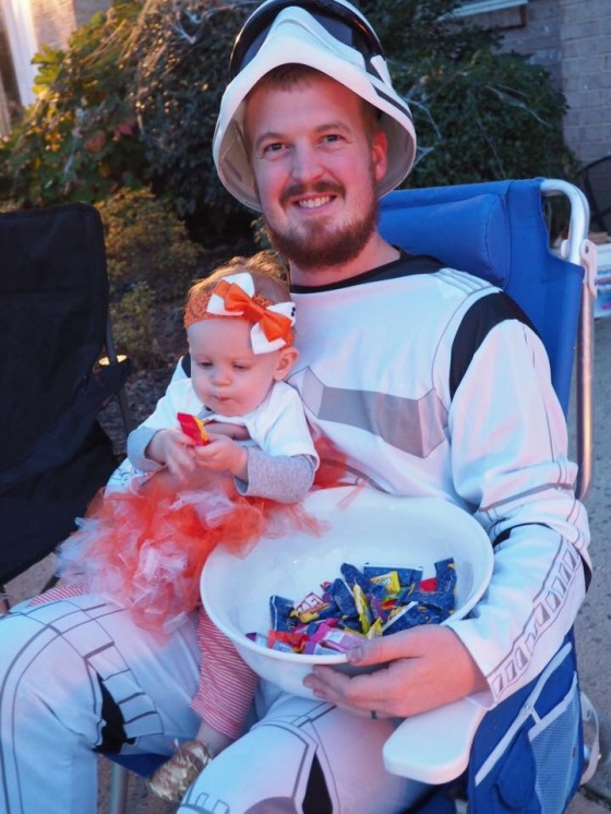 Passing out candy!