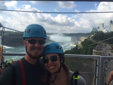 Getting ready to zip line down to the bottom of the falls!!